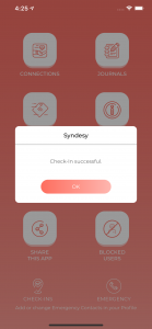 syndesy app successful check in