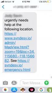 syndesy emergency text