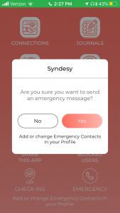 syndesy app emergency function